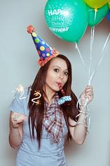 20/366 Happy Birthday!! (JennaTaryn) Tags: birthday party selfportrait hat balloons happy photography 22 candles creative happybirthday 365 noise maker portaits 2012 365portraits jennatarynphotography