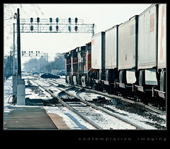 trains, trucks and automobiles (contemplative imaging) Tags: railroad winter urban usa snow cold santafe cars industry station burlington digital america train photography photo illinois midwest industrial day image photos transport january photojournalism saturday railway sunny trains images il ill american transportation imaging metra northern berwyn freight bnsf westbound journalism cookcounty 2012 1185 midwestern intermodal 85x11 lavergne 20f 4194 olye3 contemplativeimaging olyhg50200 ronzack 20120114 ci20120114brw