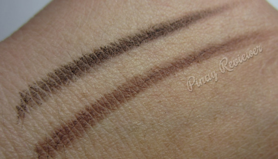 Swatches of the 2 Skinfood Black Bean Eyebrow Pencils I got - darker, thicker application
