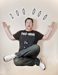 200,000 Views (simon.anderson) Tags: portrait selfportrait man male fun crazy flickr flash floating pacman immature itsme milestone unshaven amazed levitating selfie levitate offcameraflash 200000views strobist simonanderson jessops360afd mentalageof5 outofcontrolhairdo