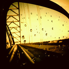 Over the River (keri_friedman) Tags: city bridge winter urban reflection water car rain oregon portland mirror droplets fremont 405 cables photoaday pdx 365 rearview vignette android droid camearphone