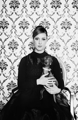 Scent of Victorian (AnnuskA  - AnnA Theodora) Tags: wallpaper portrait bw woman dog pet greyhound white black vintage cool hands mood dress antique feel victorian hairdo atmosphere stare scent classy blackdress