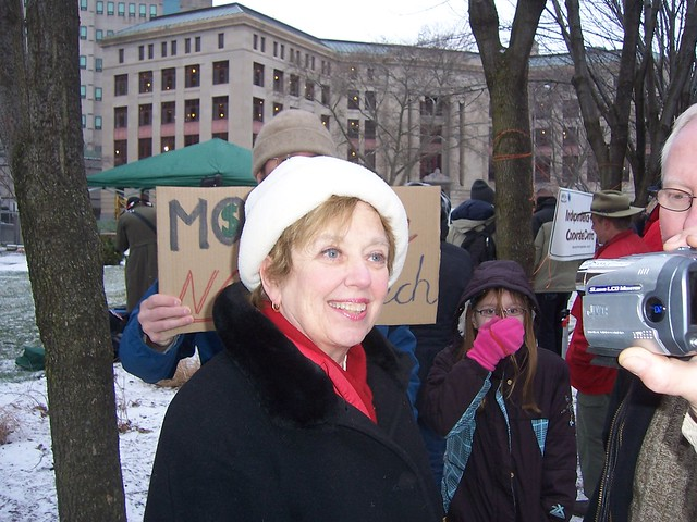 Congressional  Candidate Mary Jo Kilroy defends record after 'mic check' from Occupy Columbus