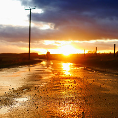 On The Road Of Fire (Andrew Lockie) Tags: road sunset english rural square golden mood sundown dusk perspective atmosphere scene cotswolds surface pole typical telegraph snowshill