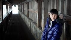 Akira and the Stowe Covered Bridge (jasohill) Tags: trip bridge portrait usa photography vermont covered akira stowe 2011