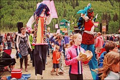(K. Sawyer Photography) Tags: trees costumes music festival kids children flag crowd parade musicalinstrument stilts telluridebluegrassfestival telluridecolorado planetbluegrass