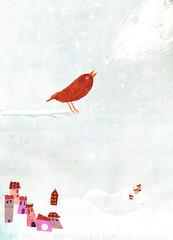 Snowbird (maralina!) Tags: winter snow cold bird art collage illustration season print landscape monoprint mixedmedia album hiver jeunesse cutpaper chilly neige pajaro hillside paysage childrensbook inverno froid oiseau monotype collina uccello coline saison techniquemixte monotipo livredenfant
