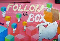 Femme Fierce - The Leake Street All Girl Takeover: Boxhead (Dutch Girl in London) Tags: pink streetart female graffiti women box tunnel urbanart cardboard cube writer ribbon fundraising breastcancer boxhead internationalwomensday guinnessworldrecords leakestreet femmefierce followthebox
