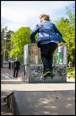 Scooter Jumping (Eline Lyng) Tags: street leica boy norway 50mm jumping streetphotography scooter summicron skateboardramp larkollen kickbike leicasl aposummicron50mm