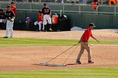 Crew, raking 001 (mwlguide) Tags: people nikon baseball michigan may lansing staff crew leagues d300 2016 midwestleague cedarrapidskernels lansinglugnuts 3121 nikond300 20160503kernelslugnutsd300raw6143121