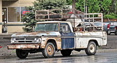 '70s Dodge Power Wagon (Eyellgeteven) Tags: old blue white truck 1971 rust 4x4 decay c rusty pickup pickuptruck dent odd faded rusted oxidation dodge 1970 chrysler mopar 1970s winch dents survivor jalopy patina beatup junker beater madeinusa americanmade rustyandcrusty fourwheeldrive dented oxidized worktruck w200 farmtruck 34ton oddpanel cattlerack eyellgeteven