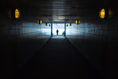 Warm light - cold light (uneitzel) Tags: light cold lamp silhouette dark underpass person lampe licht warm hamburg pedestrian tunnel exit dunkel ausgang mzuiko17mm olympusem5