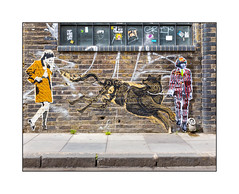 Graffiti (Mr. Fahrenheit, Mazatl), East London, England. (Joseph O'Malley64) Tags: windows woman streetart tarmac wall graffiti weeds wolf pavement wheatpaste rollingstones multimedia brickwork pasteups brianjones reinforcedglass mazatl mrfahrenheit glazedbricks granitekerbing