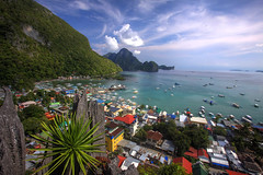 El Nido from Above (PacificKlaus) Tags: ocean sky clouds landscape philippines hdr highdynamicrange elnido palawan