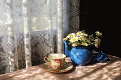chamomile tea... (s@ssyl@ssy) Tags: teapot teacup chintz china window lace enamel blue potbelly sunny shadow myshed mybackyard morning light flowers daisies wild free vintage antique