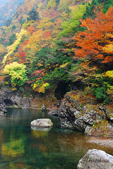 Autumn valley (rsshikisai) Tags: autumn red reflection green water yellow japan glen valley nara tenkawa villlage bbng