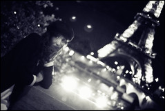 It's a too long wait for that damned blue prince (Sator Arepo) Tags: leica bridge portrait urban blackandwhite paris france tower classic love night 35mm vintage river lights europa europe torre nightscape retrato eiffeltower eiffel fantasy midnight wait romantic trocadero francia summilux elegance m9 sena preasph leicam9