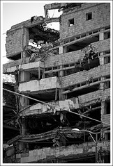 (The New Motive Power) Tags: city urban blackandwhite building abandoned broken empty serbia ruin canond60 headquarters historic massive collapse belgrade smashed damaged derelict deserted beograd rubble armedforces starigrad crumbling  geleralstab