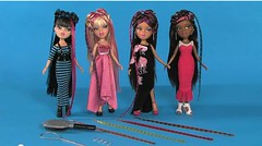 "New! Bratz ""Featherageous"" dolls. (Drekitude) Tags: long gorgeous feather jade dresses sasha yasmin bangs maxi 2012 bratz extensions cloe saran featherageous"