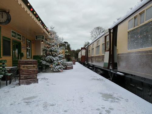 Mid Hants Railway dressed for Sky Go Movies Express photoshoot