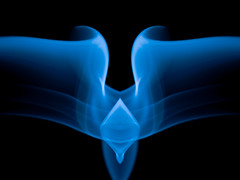 Blue diamond smoke lights --  Explored - Thank you  (CheekyAngels (catching up )) Tags: distortion black colour macro flow fire mirror nikon artistic smoke flash perspective surreal twin formation elements heat timetravel dslr tamron 90mm donniedarko incense buen mygearandme holedimensiontangent
