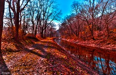 The Canal Trail (Easton, PA) (a2roland) Tags: a2rolandyahoocom a2roland norman zeb easton pa canal 611 route scenery landscape nature trees red yellow orange blue water reflection grass leaves branches twigs photo flickr natural wide view angle low daylight © photography all rights reserved