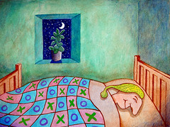 A Good Night's Sleep (soilse (Sen  Domhnaill)) Tags: sleeping moon plant flower window illustration night watercolor stars bed bedroom funny drawing sleep humor cartoon illustrations drawings humour dreaming nighttime dreams laugh watercolour editorial xo cartoons nightcap acrylics penandink xox acrylicpaints editorialillustration acryliccolours agoodnightssleep asleepinbed