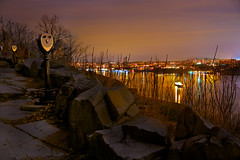 Winter Overlook, Hudson River & New York City (SunnyDazzled) Tags: nyc newyorkcity longexposure winter night river lights colorful hudson overlook viewpoint yonkers viewers