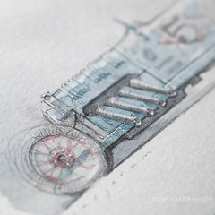 Auto Art Advent 05 (Stefan Marjoram) Tags: hot classic car pencil vintage sketch drawing doodle watercolour rod autoartadvent