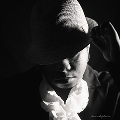 """Try A Little Tenderness"" (amandajcain) Tags: lighting portrait bw classic self canon studio square photography 50mm december emotion priceless smooth identity 7d alienbee processed coolness strobe fadora newbedford upandcoming amandajcain"