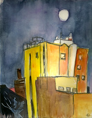 Moonrise Over Waterloo (Marcia Milner-Brage) Tags: winter moon ink watercolor brushpen urbanlandscape waterlooiowa acylicwhiteink