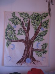 growing a tree - painting (henna lion) Tags: life autumn sun moon tree leaves wall painting spiral paint acrylic spirit magic large joan fabric hanging magical treeoflife runes phases spirittree muslin futhark grounding 2011 centering kovatch cyles joankovatch