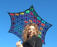 Crochet Umbrella - Lacy Daisy Crochet Parasol (babukatorium) Tags: pink flowers blue wedding red orange black flower color green art lana wool fashion yellow umbrella circle rainbow colorful purple recycled handmade lace mosaic turquoise teal burgundy oneofakind web crochet moda violet style mandala parasol gradient daisy hexagon romantic hippie swirl fiori bridal patchwork psychedelic fiore arcobaleno remake embellished bohemian multicolor whimsical sposa renew ombrello darkblue haken parasole hkeln emeraldgreen croch ganchillo fuxia upcycled uncinetto handdecorated fattoamano  daisyloom tii horgolt decoratoamano babukatorium