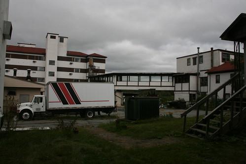 Loading dock courtyard behind main building