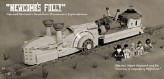 """Newcomb's Folly"" (ted @ndes) Tags: sepia train lego engine steam system locomotive minifig steamboat steampunk moc"