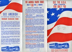 """Greyhound """"See the USA"""" for $99 leaflet issued 1968, side 1 of 2 (NE2 3PN) Tags: greyhound bus 99 1968 seeamerica scenicruiser"""