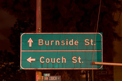 Burnside Couch (Curtis Gregory Perry) Tags: street old signs green sign night oregon portland nikon couch button arrow 100 copy d300         burnisde