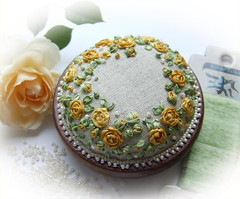 Yellow Rose of Texas Pincushion (LornaBatemanEmbroidery) Tags: christmas flowers roses beads hand embroidery bees silk lavender pearls made wreath ribbon pincushion beaded textured raised threads knotgarden stumpwork silkribbon crewelembroidery handdyedthreads