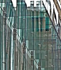 Some glass, Boston (Caladrio) Tags: distortion reflection glass boston architecture grain overexposure mutedcolors muted