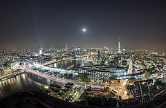 Captain birdseye's fisheye view of London (odin's_raven) Tags: city moon london rooftop thames skyline night towerbridge stars stpaulscathedral shard gherkin hdr urbex talkurbex