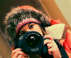 Peeking Over. (Tori Lesikar Photography) Tags: winter selfportrait cold reflection girl fashion female self canon fur eos mirror sweater fuzzy knit 5d knitted brunette browneyes burton winterwear markii browneyed 2470mm