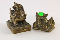 23. Chinese Bronze Tone Foo Dogs