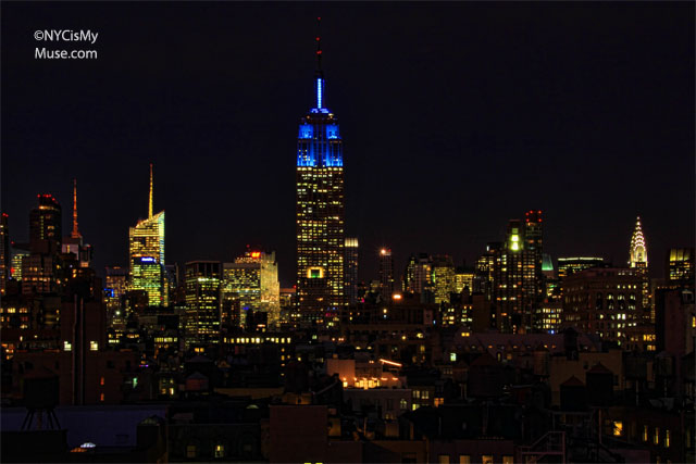 Empire State Building in Blue again for the NY GIANTS & NYC skyline