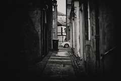 Bin and Bug (stephen cosh (on holiday)) Tags: life street city people blackandwhite bw sepia dumpster mono scotland town unitedkingdom candid streetphotography rangefinder bin perth fujifilm reallife humancondition x100 blackandwhitephotos blackwhitephotos stephencosh fujix100