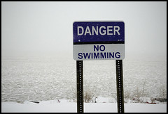 No Swimming, No Duh (Andy Marfia) Tags: winter snow storm sign danger illinois iso400 lakemichigan evanston f8 noswimming 1640sec 1685mm d7000