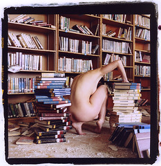 Books (silke s.) Tags: school selfportrait abandoned 120 6x6 film analog mediumformat detroit hasselblad500cm darkroomprint fujipro800z autaut chromogenicprint