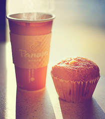 Good Morning Sunshine! (pixelmama) Tags: chicago coffee illinois yum steam theloop michiganavenue goodmorning panera peppermintmocha justaftersunrise abrandnewday chasinglight cranberrymuffin pixelmama
