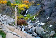 Waterfall & Old Crag - Sonora Pass, California (Darvin Atkeson) Tags: autumn black color fall sonora flow volcano lava waterfall nevada pass peak canyon falls sierra boulders cascades granite elevation volcanic bluecanyon highsierra darvin sonorapass atkeson darv sonorapeak liquidmoonlight