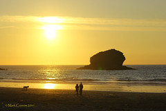 Sunset at Portreath - July 2011 (Mark Curnow Photography) Tags: sunset sea people dog beach fun coast warm cornwall walkers kernow portreath markcurnow