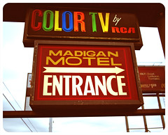 Color TV sign () Tags: usa color sign club america photography washington tv discount cool interesting highway state pacific northwest image good united picture free motel cable retro nostalgia international vision photograph 99 sound nostalgic americana local states roadside googie weekly vacancy hbo diners puget rates calls midcentury deals madigan